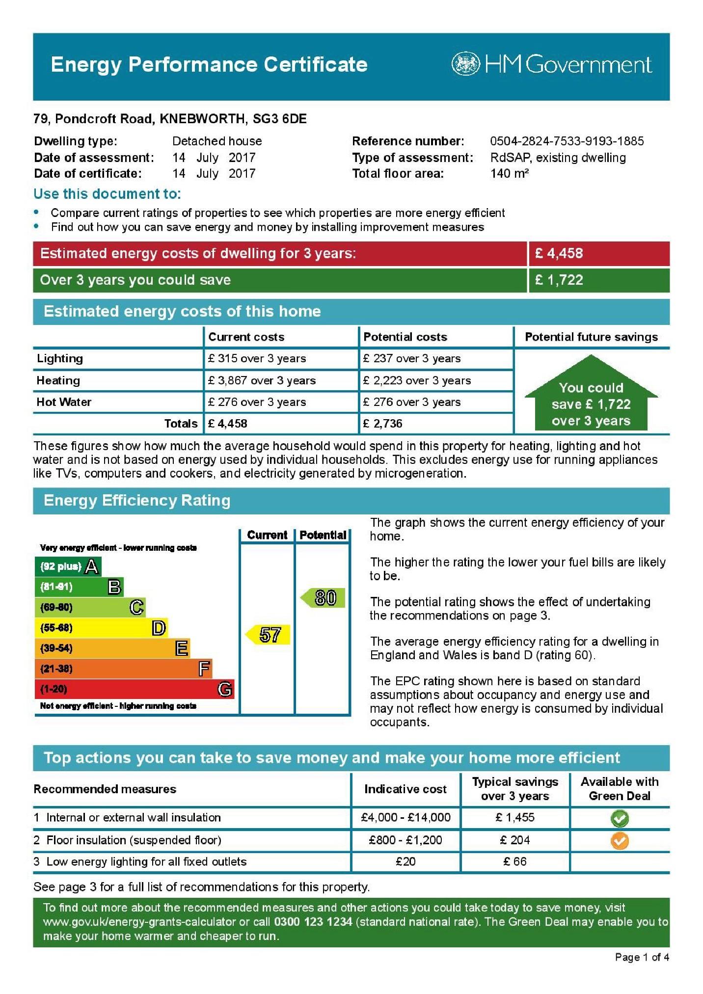 EPC Graph for Pondcroft Road, Knebworth, SG3 6DE