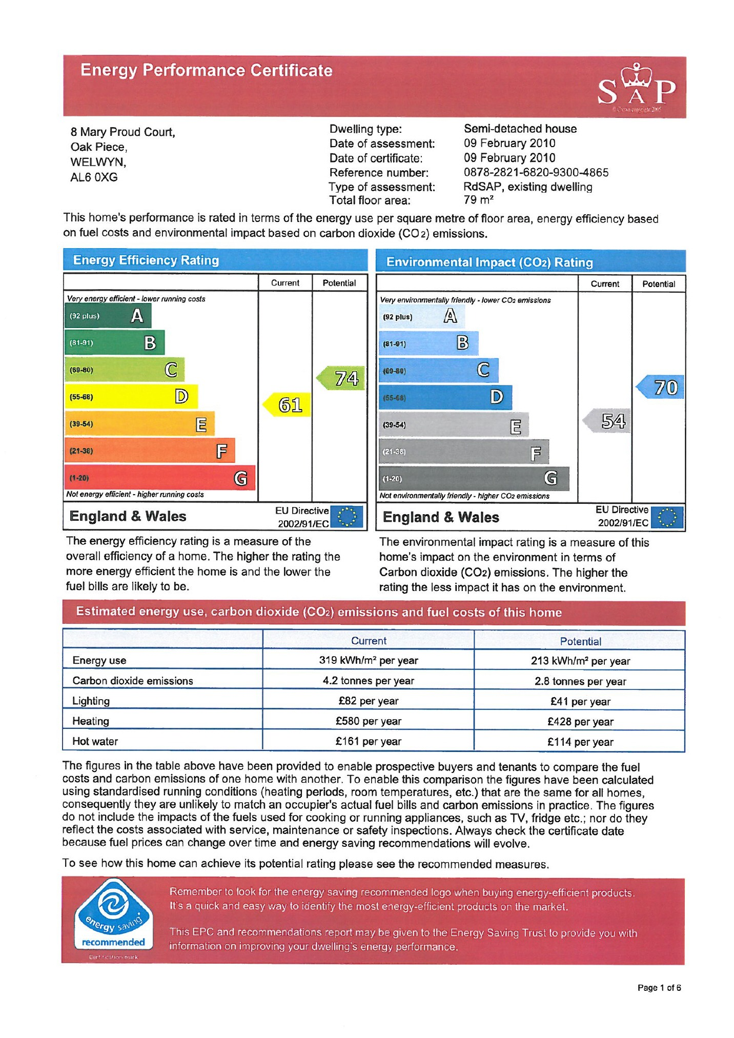 EPC Graph for Mary Proud Court, Oaklands, Welwyn AL6 0XG