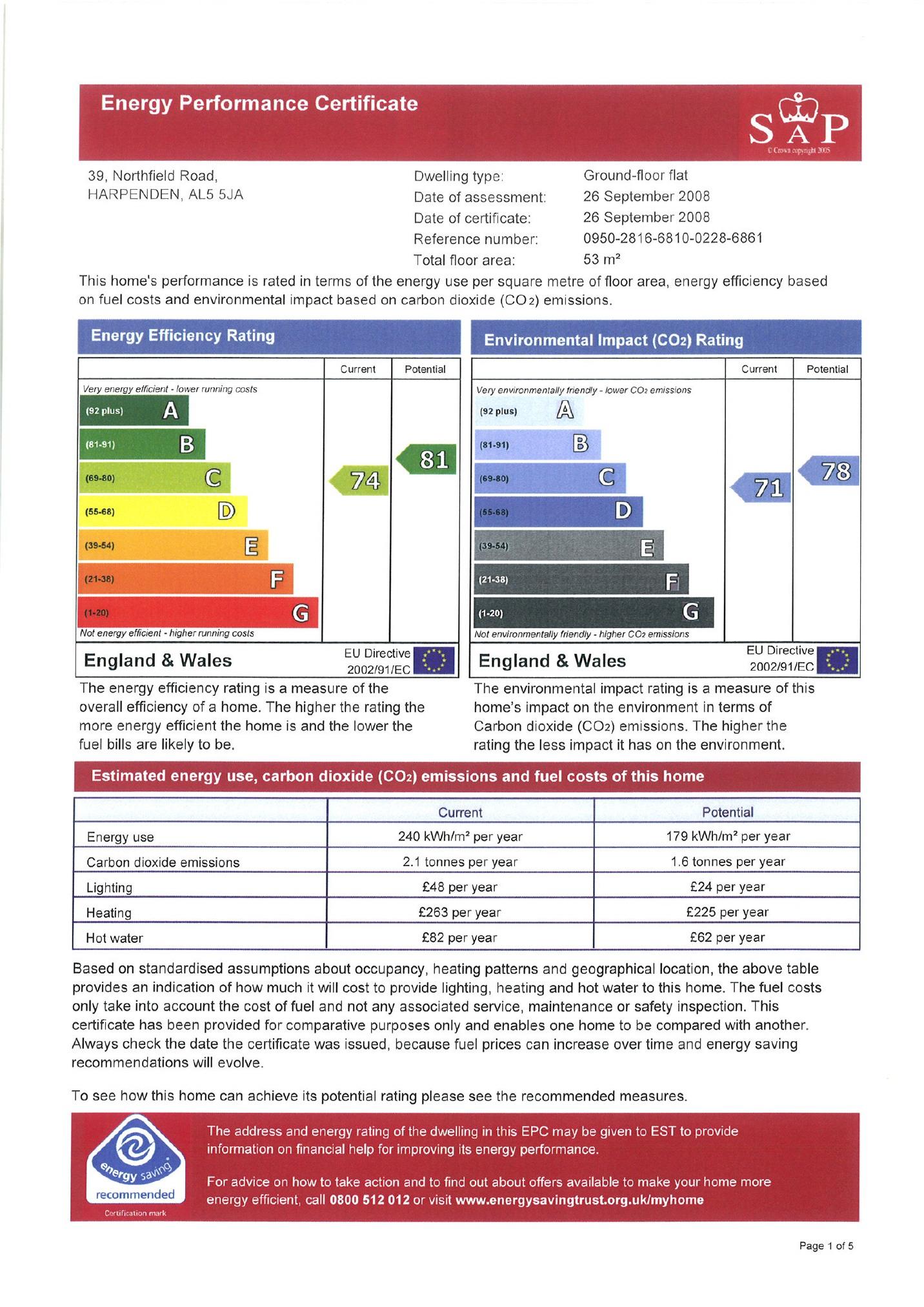 EPC Graph for Northfield Road, Harpenden, Hertfordshire, AL5